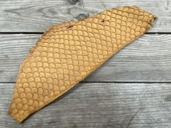 Peau de cuir de poisson tilapia fauve mat camel bijoux accessoire Cuirenstock