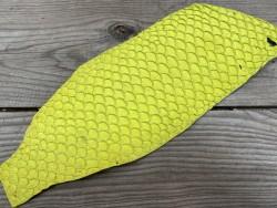 Peau de cuir de poisson tilapia jaune mat bijoux accessoire maroquinerie Cuirenstock