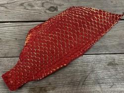 Peau de cuir de poisson tilapia métallisé mat rouge dorée bijou accessoire Cuir en Stock