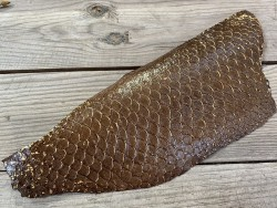 Peau de cuir de poisson tilapia marron glossy métallisé doré bijoux accessoire maroquinerie cuir en stock