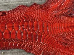 Détail grain de peau cuir patte de coq poulet orange cuirenstock