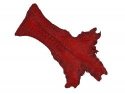 Peau de cuir de patte de coq cuir exotique luxe rouge carmin Cuir en Stock