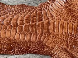 Détail grain de peau cuir patte de coq terra cotta luxe exotique Cuir en stock