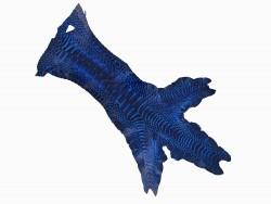 Peau cuir patte de coq bleu roi qualité exotique luxe bijoux accessoire Cuir en stock