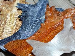 Combinaison couleurs cuir peau pattes de coq nacré exotique luxe Cuir en stock