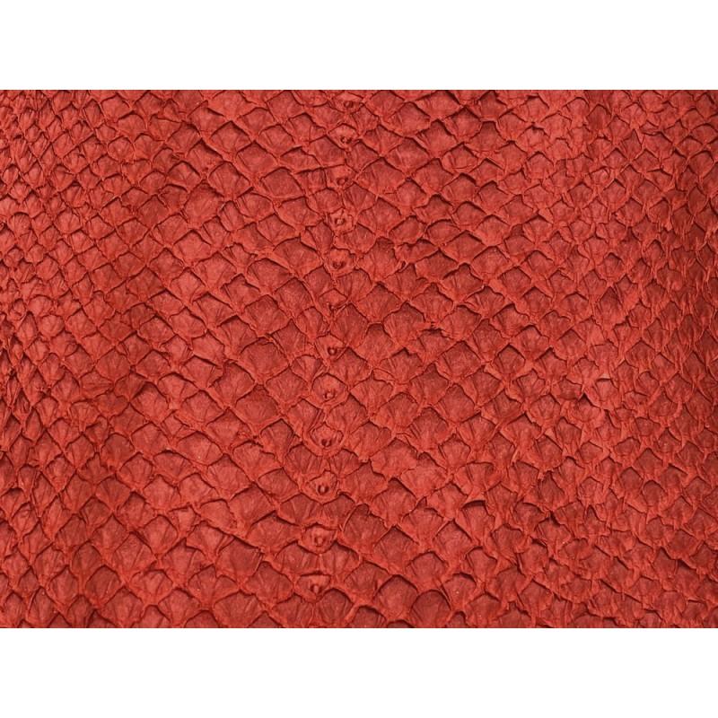Détail écailles peau cuir poisson saumon rouge vif exotique bijoux accessoire Cuir en Stock
