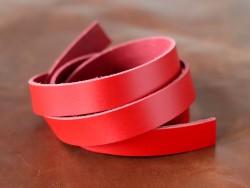 Bande lanière de cuir double croupon rouge sur mesure - Cuir en Stock