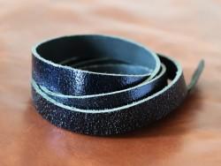 Bande de cuir bleu marine métallisé - Cuir en Stock