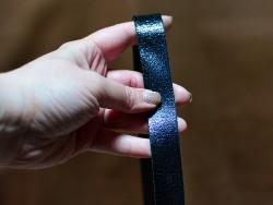 Bande lanière de cuir double croupon pour anse de sac - Bleu marine métallisé - Cuirenstock