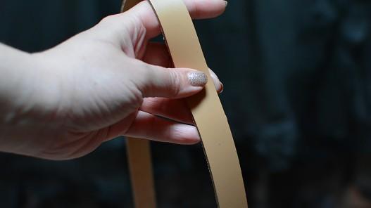 Bande lanière de cuir beige sable - Double croupon - Cuir en Stock