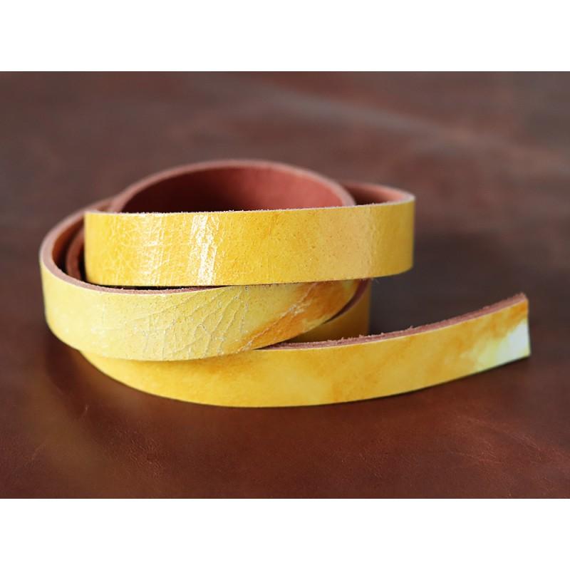 Bande de cuir jaune craquelé - Cuir en Stock