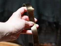 Bande lanière de cuir - Double croupon - Bronze métallisé craquelé - Cuirenstock