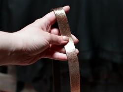 Bande lanière de cuir cuivré métallisé - Double Croupon - Cuirenstock
