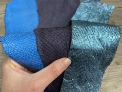 Lot de 3 peaux de cuir de poisson saumon camaïeu de bleu mat satiné nacré métallisé Cuir en Stock