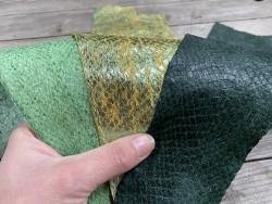 Lot de 3 peaux de cuir de poisson saumon camaïeu de vert jaune mat satiné nacré métallisé Cuir en stock