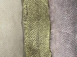 Lot de 3 peaux de cuir de poisson saumon camaïeu de beige taupe brun mat satiné nacré métallisé Cuir en Stock