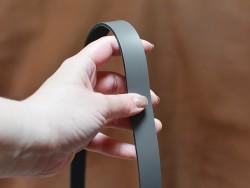 Bande lanière de cuir grise - Double Croupon - Cuir en Stock