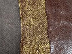 Lot de 3 peaux de cuir de poisson saumon camaïeu de marron brun mat satiné nacré métallisé Cuir en Stock