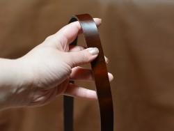 Bande lanière de cuir Pull-Up marron - Double Croupon - Cuir en Stock