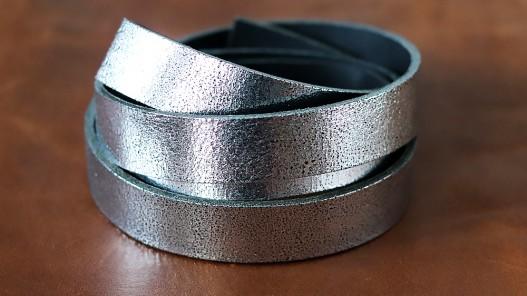 Bande de cuir argent craquelé - Cuirenstock