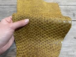 Peau de cuir de poisson - Perche du Nil - jaune ocre - maroquinerie bijoux - luxe exotique Cuir en stock