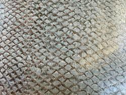Détail écailles cuir de poisson - Perche du Nil - vert d'eau - maroquinerie bijoux - Cuir en Stock