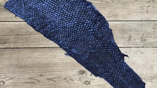 Peau entière cuir de poisson - Perche du Nil - Bleu marine - bijoux accessoire - luxe exotique - cuir en stock