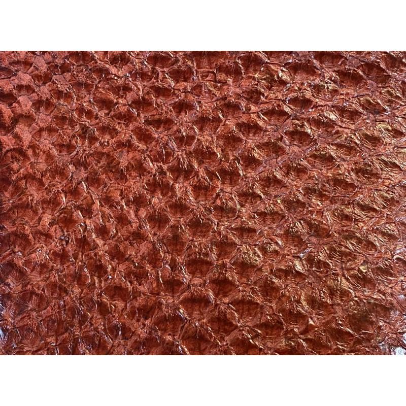 Détail écailles - peau de cuir de poisson - Perche du Nil - Terracotta - Cuir en Stock