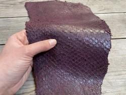 Peau de cuir de poisson - Perche du Nil - aubergine - luxe exotique - bijoux maroquinerie - Cuir en stock