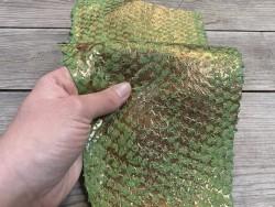 Peau de cuir de poisson - Perche du Nil - vert doré - métallisé - Cuir en stock