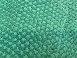 Détail écailles - peau cuir poisson - Perche du Nil - vert - Cuir en stock