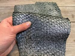 Peau de cuir de poisson - Perche du Nil - vert forêt argenté - Cuir en stock