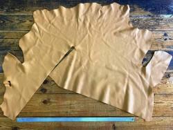 Demi-peau de cuir de veau beige sable maroquinerie Cuir en stock