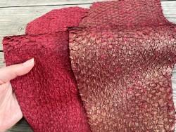 Exemple duo - lot de peaux - cuir exotique - poisson - Perche du Nil - rouge - Cuirenstock