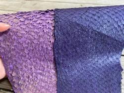Duo peaux - cuir de poisson - peaux exotique - vente en lot - Violet rose - Bijou accessoire maroquinerie - Cuir en stock