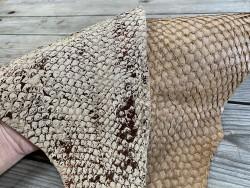 Exemple duo - cuir de poisson - Perche du Nil - lot de peaux - beige brun - bijou accessoire maroquinerie - cuirenstock