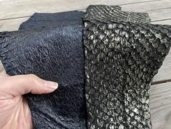 Duo - peaux de poisson - cuir exotique - Perche du Nil - Noir - Lot - bijou accessoire maroquinerie - Cuir en Stock