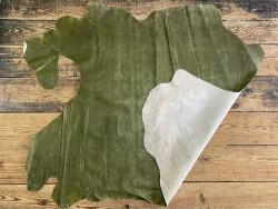 Endroit envers peau de cuir de porc classique - vert olive - maroquinerie - Cuir en Stock
