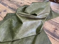 Souplesse peau de cuir de porc classique - vert olive - maroquinerie - Cuirenstock