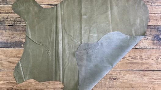 Endroit envers peau de cuir de porc - vert kaki - maroquinerie - classique - Cuirenstock