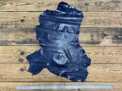 Peau de cuir de mouton - tannage végétal - bleu marine - maroquinerie - Cuir en Stock