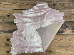 Endroit envers peau pailleté métallisé rose - mouton métis - maroquinerie - vêtement - cuirenstock