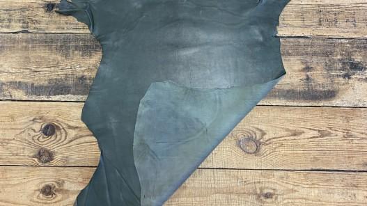 Recto verso peau de cuir de mouton nappa métiss vert kaki - vêtement maroquinerie - Cuir en stock