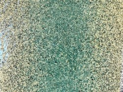 Détail grain - peau de galuchat - perle centrale - dégradé de vert moucheté - cuir exotique - Cuir en stock