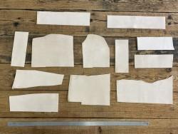 Détail chutes de cuir de vache végétal nubuck naturel - vendu au poids - Cuir en stock