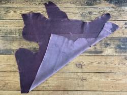 Endroit envers morceau de cuir de vachette noir métallisé rose fushia - Cuir en Stock