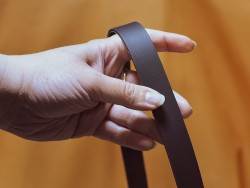 Bande lanière de cuir - Double croupon marron mat - Cuirenstock