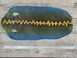Peau de galuchat - grain perlé semi-poli - motif zig zag bleu - bijou - gainage d'objet - Cuirenstock