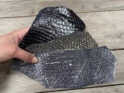 Lot de peaux de cuir de poisson tilapia - noir - soldes - bijou - accessoire - incrustation - Cuir en Stock