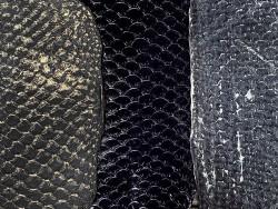 Détail écailles cuir de poisson tilapia - noir - soldes - bijou - accessoire - incrustation - Cuir en stock